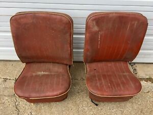 Vw Bug Original Lowback Seats 1956 1964 Recliner Oval Beetle Patina J15694