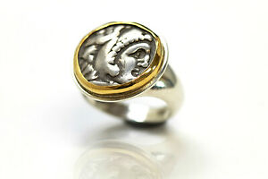Silver Ring W 14k Solid Gold Bezel Alexander The Great Greek Coin W Cer 021