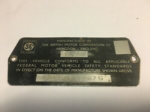 Mgb Vin Vehicle Identification Steel Embossed Plate Engine Compartment 1969
