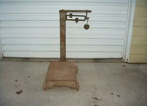 Vintage Antique Cast Iron Steel Platform Fairbanks Scale With Weights