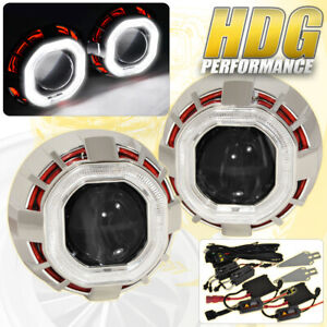 2 5 Bi xenon Hid Projector Headlight Retrofit Shroud Red White Halo Angel Eye