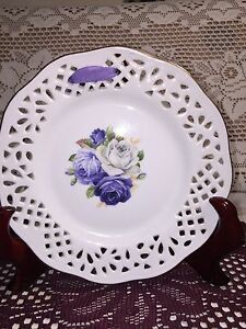 Vtg Porcelain Reticulated Plate Wall Hanging