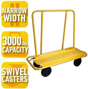 Drywall Cart Rolling Service Dolly 3000 Lb Capacity Locking Casters Fits Doors