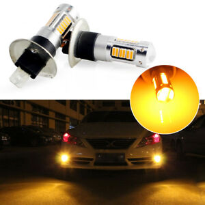 2x High Power Amber Yellow H1 30 Smd Led Bulbs For Fog Lights Driving Drl Lamps
