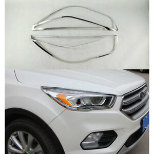 Abs Chrome Car Front Head Light Lamps Frame Cover Trim For Ford Kuga Escape 2017