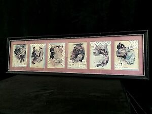Antique Victorian Six Stages Of Love Yard Long Postcard Prints Reinthal