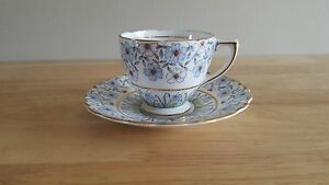 Vintage Rosina Bone China Tea Cup Saucer Set Blue White Flowers