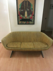 Vintage Overman Sweden Couch Mid Century Sofa Yellow Multi Retro Eames Modern
