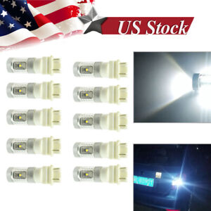 10 White 3157 3156 High Power 30w Led Tail Brake Stop Backup Reverse Light Bulbs
