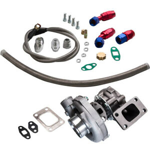 T3t4 T04e Turbo Hybrid 63 A r Turbine 5 Bolt Flange Oil Cooled in Out Oil Lines
