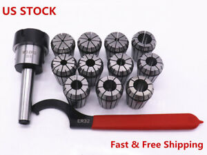Mt2 Shank Er32 Chuck With 11 Pc Collets Set Spanner For Cnc Milling Machine