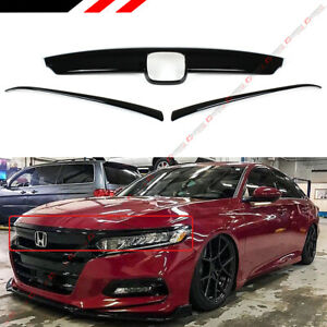 For 2018 2019 Honda Accord Glossy Black Front Grill Molding Trim Eyelid Cover