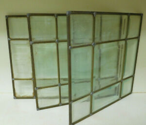 3 Vintage Leaded Beveled Glass Window Panes 12 X12 X 3 Panes Heavy Brass