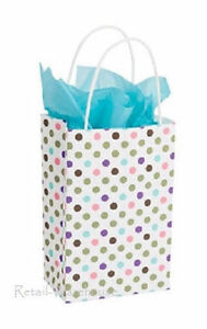 Paper Shopping 100 Bags 5 X 3 X 8 rose Polka Dots Retail Gift Bag
