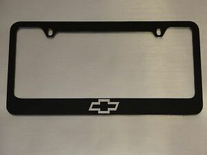 Chevy Logo License Plate Frame Glossy Black Metal Brushed Aluminum Text
