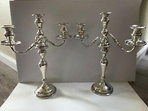Antique Pair Victorian Sterling Silver Large Candle Holders Frank M Whiting Co