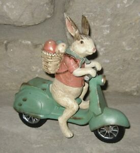 Bunny Rabbit On Scooter W Egg Basket Primitive French Country Farmhouse Decor