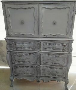 Hand Paintedvintage French Provincial Tall Boy Dresser