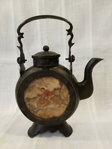 Vintage Chinese Pewter Bronze Teapot With Reverse Painted Glass Panels