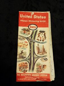 Vintage Rare United States Usa Happy Motoring Guide Esso Map 1965