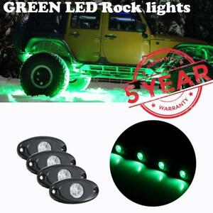 4pcs Green Cree Led Rock Light Pods Lights For Truck Car Atv Suv Under Wheel New