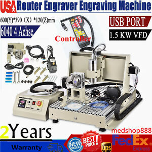 4 Axis Usb 6040 Cnc Router Engraver Mill drilling Machine Woodworking 1 5kw rc