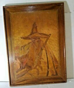 Vintage Marquetry Wood Cut Inlay Plaque Wall Hanging Asian Inspired Man Hat 12x9