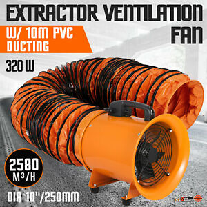 10 Extractor Fan Blower Portable 10m Duct Hose Exhaust Chemical Telescopic
