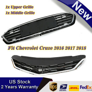 Front Bumper Upper Grill Middle Lower Abs Grille Fit 2016 2018 Chevrolet Cruze