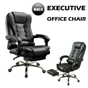 Adjustable Office Gaming Chair Ergonomic Pu Leather High Back Computer Black