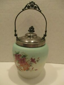 Antique Victorian Milk Glass Biscuit Jar With Hand Painted Flowers