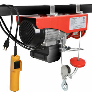 880 Lb Electric Cable Hoist Crane Lift Garage Auto Shop Winch W remote 110v