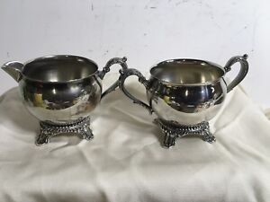 Vintage Silverplate Cream And Sugar Set Footed With Handles