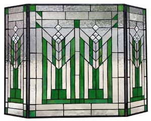 38 Green Mission Style Stained Glass Fireplace Screen 3 Piece Folding Decor