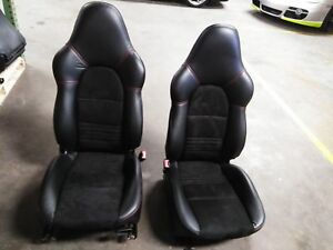 Porsche 996 Turbo Gt3 Black Recaro Seats Left And Right New Leather And Suede