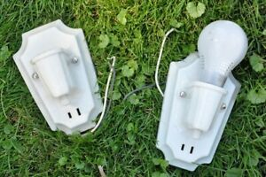 Vintage Pair Of Paulding Art Deco Porcelain Wall Light Fixture W Outlet Sconce