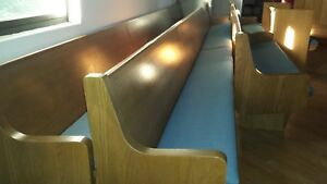 18 Foot Long Church Pew Light Wood Padded Seat Blue Simple Style