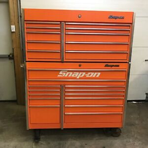 Snap On Electric Orange Krl1022 Tool Box Krl1201 Top Chest 3 Trays