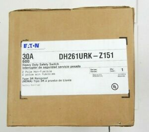 Eaton Dh261urk Z151 Heavy Duty Safety Switch 2 Pole 30 Amp 600v Non fusible New