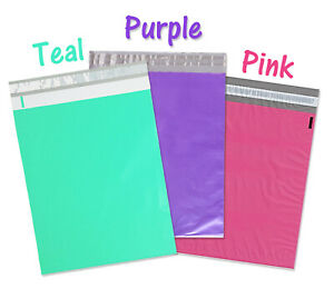 12x15 5 Poly Mailers Pink Purple Teal 12x15 Envelopes Plastic Shipping Bags