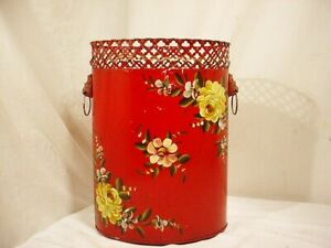 Vtg Red Tole Painted Metal Trash Can Reticulated Edge Shabby Lion Heads 13 X 9