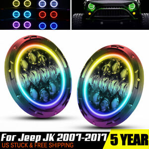Rgb Color Changing Halo Ring 7 Round Led Angel Eye H4 Headlights Head Lights