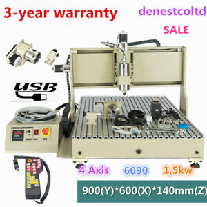 Usb 4 Axis 6090 1 5kw Cnc Router Engraver Engraving Milling Machine controller