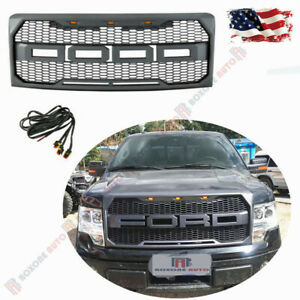Gray Sport Front Upper Grill Raptor Style Grille W Fr 3 Led For Ford F150 09 14