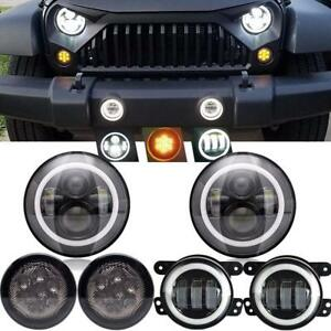 For Jeep Wrangler Jk 07 17 7 Halo Led Headlight Fog Light Turn Lights Combo Kit