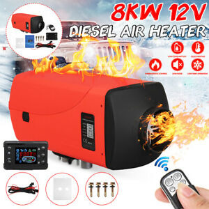 8kw 12v Diesel Air Heater Lcd Thermostat 8000w Quiet For Trucks Boat Car Bus Van