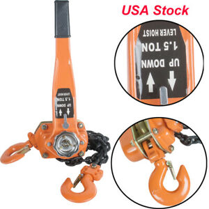 1 5 Ton Portable Use Ratcheting Lever Block Chain Hoist Come Along Puller Pulley