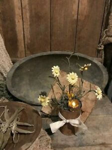 Primitive Country Spring Yellow Daisies Flowers Candle Rusty Can Cupboard Tuck