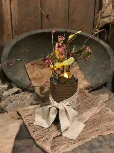 Primitive Country Spring Roses Flowers Candle Rusty Can Cupboard Tuck
