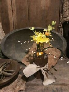 Primitive Country Spring Buttercups Flowers Candle In Rusty Can Cupboard Tuck